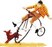 Hochradfahrer, stürzend