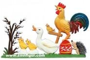 Eine Ente, Küken, ein Igel und ein Hahn beim Osterkonzert
