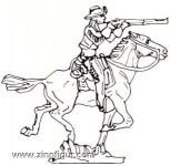 Prince August: Gießform: Trapper zu Pferd, schießend, 19. Jh.