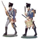 Schildkröt: Infanterie, Trommler vorgehend, Musketier vorgehend, 1789 bis 1815