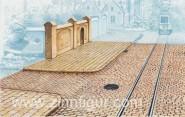 Straßenplatten mit Schienen