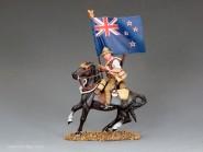 Neuseeländer Fahnenträger zu Pferd