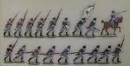 Kieler Zinnfiguren: Musketiere im Angriff, 1813 bis 1815