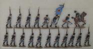 Kieler Zinnfiguren: Musketiere vorgehend, 1813 bis 1815