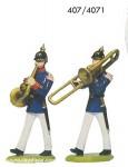Schildkröt: Gießform:  zwei Musiker der Infanterie, marschierend, 1871 bis 1918