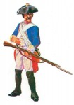 Prince August: Musketier mit Gewehr (ladend) im Gefecht, 1712 bis 1786