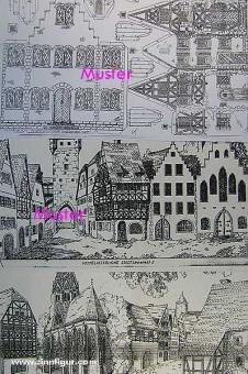 8 Hintergrundbögen: Mittelalter bis Jetztzeit -Bastelbogen, Modellbaubogen