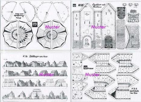 10 Hintergrundbögen: Mittelalter bis Jetztzeit -Bastelbogen, Modellbaubogen