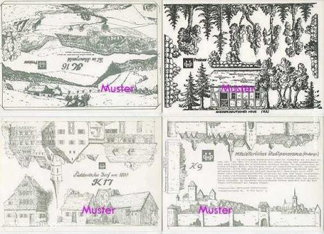 5 Hintergrundbögen: Häuser und Dörfer - Bastelbogen, Modellbaubogen