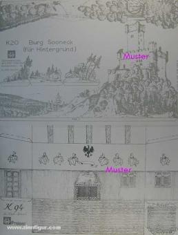 2 Hintergrundbögen: Ritterburg und Rittersaal - Bastelbogen, Modellbaubogen