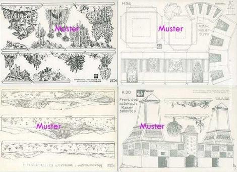 8 Hintergrundbögen: Mexiko und Azteken - Bastelbogen, Modellbaubogen