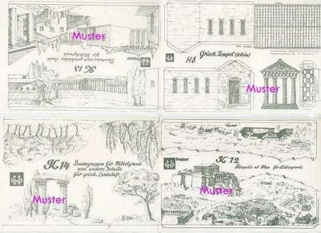 6 Hintergrundbögen: Griechenland (Antike) - Bastelbogen, Modellbaubogen