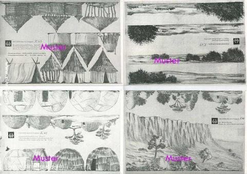 8 Hintergrundbögen: Afrika (auch Kolonialzeit) -Bastelbogen, Modellbaubogen