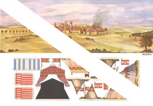 Hintergrund und Zelte zum Landsknechtslager (Ausschneidebogen)
