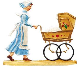 Kindermädchen mit Kinderwagen