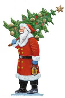 Weihnachtsmann trägt einen Tannenbaum