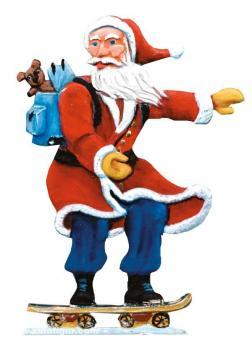 Weihnachtsmann mit Skateboard