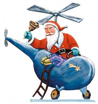 Weihnachtsmann mit Hubschrauber