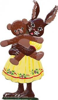 Hasenmädchen mit Teddy
