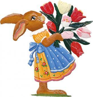 Hasenmädchen mit Tulpen