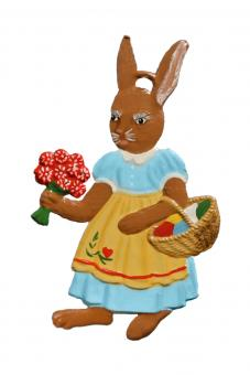 Ornament: Mrs. Bunny with Flowers and Basket
