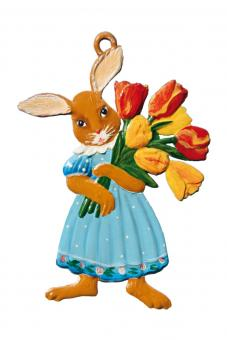 Anhänger: Häsin mit Tulpen