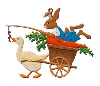 Ornament: Rabbit on Duck Wagon