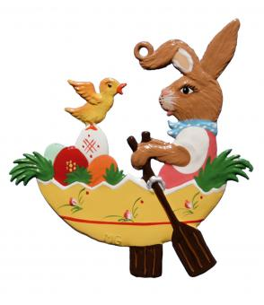 Anhänger:Hase rudert in der Eierschale