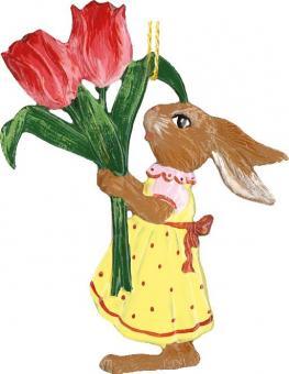 Anhänger: Hasenmädchen mit zwei Tulpen