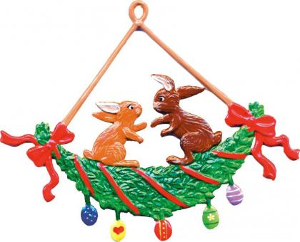 Ornament: Rabbits in a Swing Wreath