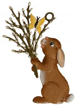 Ornament: Rabbit with Willow Catkins