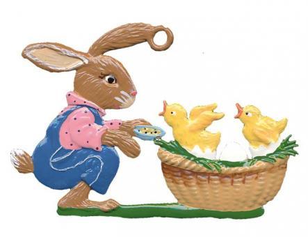 Ornament: Rabbit feeding Chicks