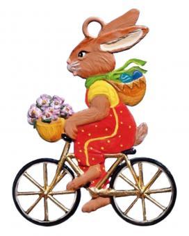 Anhänger: Ein fleißiger Osterhase auf dem Fahrrad