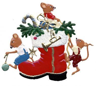 Anhänger: Mäuschen mit Weihnachtsstiefel