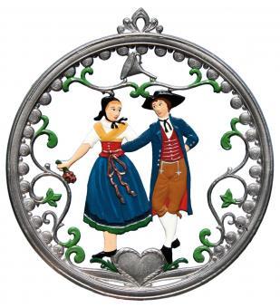 Wand/Fensterbild: Tafel, rund, Tanzpaar