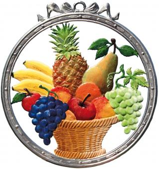 Wand- bzw. Fensterbild: Tafel, rund, Obstkorb