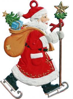 Anhänger: Weihnachtsmann mit Schlittschuhen