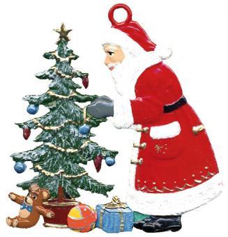 Anhänger: Weihnachtsmann schmückt Baum