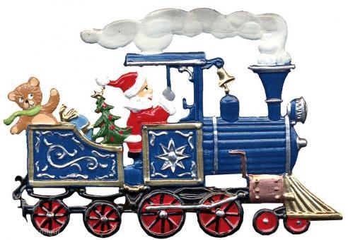 Anhänger: Weihnachtsmann in einer Lokomotive