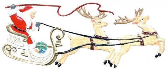 Anhänger: Weihnachtsmann im Rentierschlitten