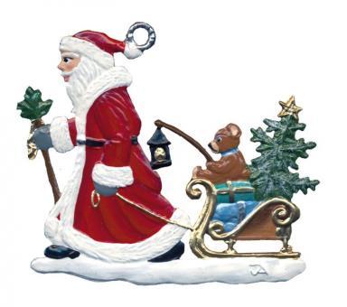 Anhänger: Weihnachtsmann mit Schlitten