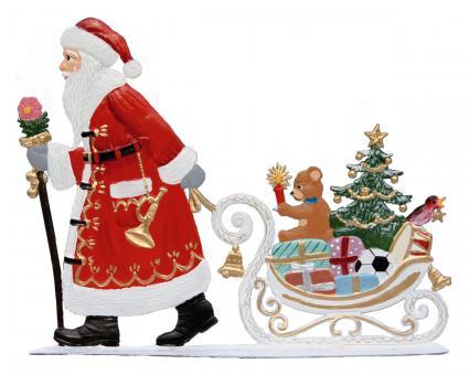 Weihnachtsmann zieht Schlitten