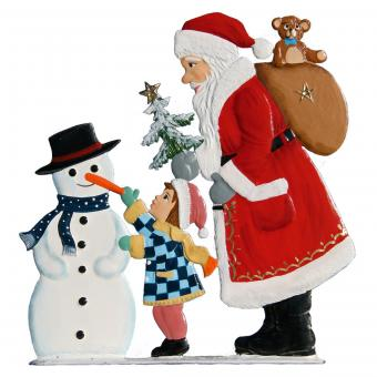 Santa Claus with Child and Snowman