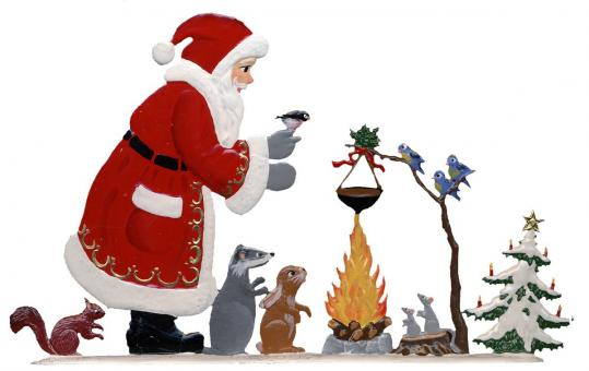 Weihnachtsmann am Lagerfeuer