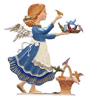 Ein Engel füttert die Vögel