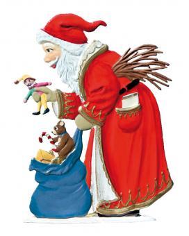 Weihnachtsmann beim Schenken