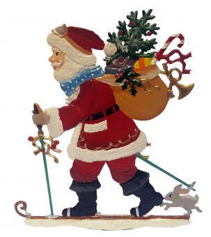 Santa with Ski on the Way