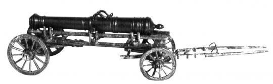 Rohrtransportwagen mit 48-Pfünder Geschützrohr