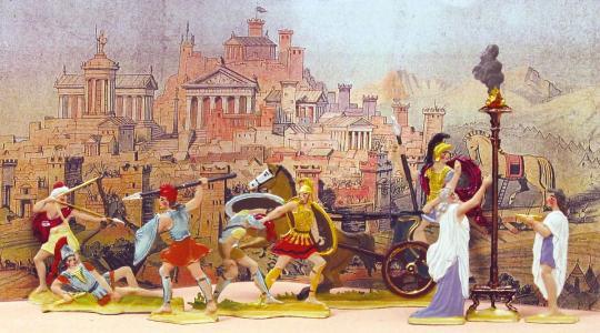 Klein-Diorama: Kampf um Troja