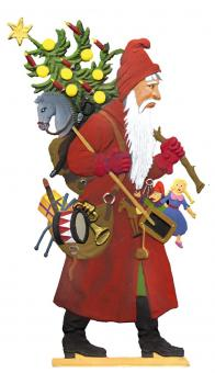 Santa Claus carrying Tree and Gifts